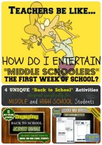 Middle School Back to School Activities
