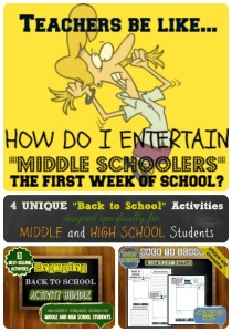 Middle School Back to School Activities