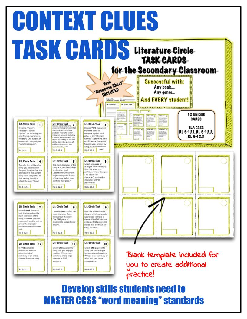 Context Clues Task Cards Product